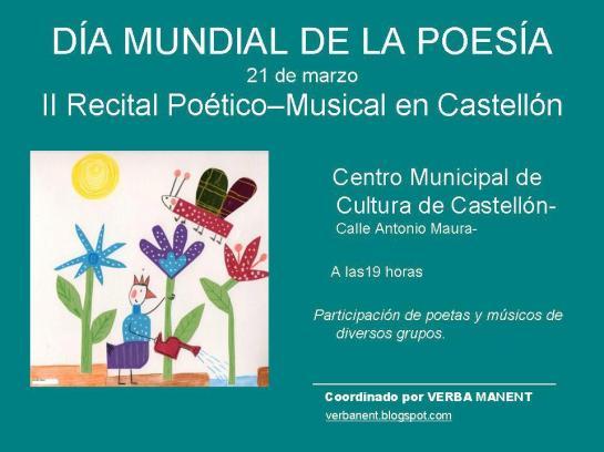 Día Mundial de la Poesía, Casa Municipal de Cultura de Castellón, 21-3-2013