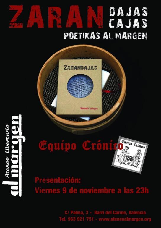 Poétikas Al Margen: Presentación de las zarancajas en Ateneo Libertario Al Margen, Valencia, 9-11-2012
